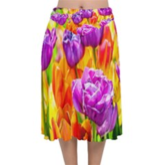 Tulip Flowers Velvet Flared Midi Skirt by FunnyCow