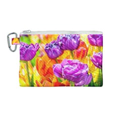 Tulip Flowers Canvas Cosmetic Bag (medium) by FunnyCow