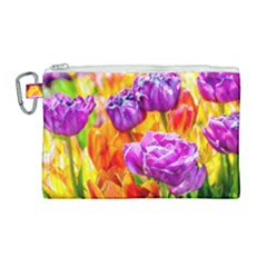 Tulip Flowers Canvas Cosmetic Bag (large) by FunnyCow
