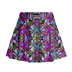 Multicolored Floral Collage Pattern 7200 Mini Flare Skirt by dflcprints