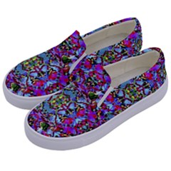 Multicolored Floral Collage Pattern 7200 Kids  Canvas Slip Ons by dflcprints