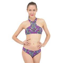 Multicolored Floral Collage Pattern 7200 High Neck Bikini Set