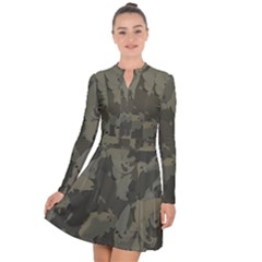 Country Boy Fishing Camouflage Pattern Long Sleeve Panel Dress by allthingseveryday