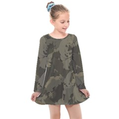 Country Boy Fishing Camouflage Pattern Kids  Long Sleeve Dress by allthingseveryday