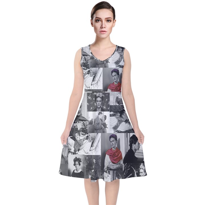 Frida Kahlo pattern V-Neck Midi Sleeveless Dress