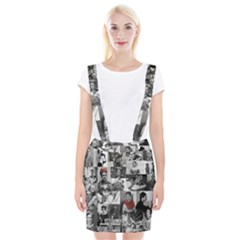 Frida Kahlo Pattern Braces Suspender Skirt