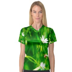 Inside The Grass V Neck Sport Mesh Tee by FunnyCow