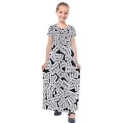 Audio Tape Pattern Kids  Short Sleeve Maxi Dress by Valentinaart