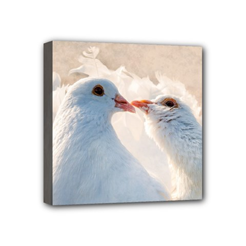 Doves In Love Mini Canvas 4  X 4  by FunnyCow