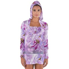 Pink Lilac Flowers Long Sleeve Hooded T Shirt by FunnyCow