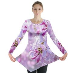 Pink Lilac Flowers Long Sleeve Tunic  by FunnyCow