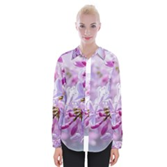 Pink Lilac Flowers Womens Long Sleeve Shirt by FunnyCow