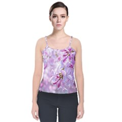 Pink Lilac Flowers Velvet Spaghetti Strap Top by FunnyCow