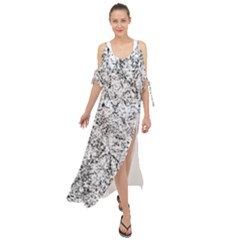 Willow Foliage Abstract Maxi Chiffon Cover Up Dress