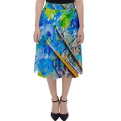 Artist Palette And Brushes Folding Skater Skirt by FunnyCow