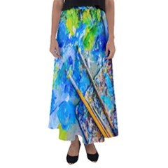 Artist Palette And Brushes Flared Maxi Skirt by FunnyCow
