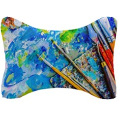 Artist Palette And Brushes Seat Head Rest Cushion by FunnyCow