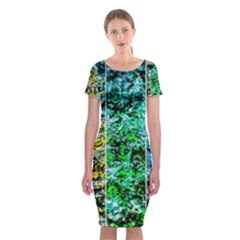 Abstract Of Colorful Water Classic Short Sleeve Midi Dress