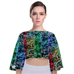 Abstract Of Colorful Water Tie Back Butterfly Sleeve Chiffon Top by FunnyCow
