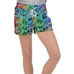 Abstract Of Colorful Water Women s Velour Lounge Shorts