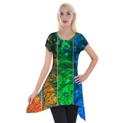 Rainbow Of Water Short Sleeve Side Drop Tunic by FunnyCow