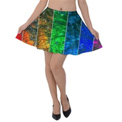 Rainbow Of Water Velvet Skater Skirt by FunnyCow