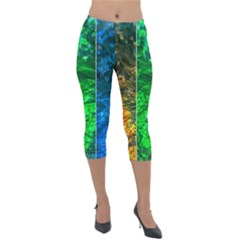 Rainbow Of Water Lightweight Velour Capri Leggings  by FunnyCow