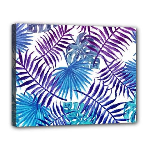 Blue Tropical Leaves Pattern Canvas 14  X 11  by goljakoff