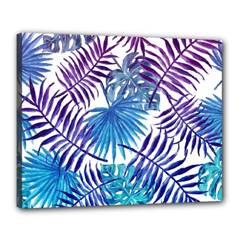 Blue Tropical Leaves Pattern Canvas 20  X 16  by goljakoff