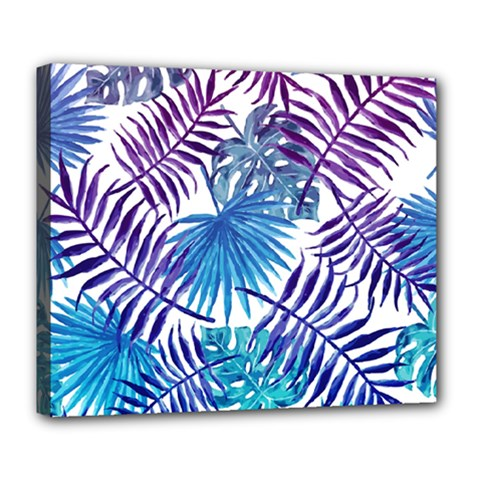 Blue Tropical Leaves Pattern Deluxe Canvas 24  X 20   by goljakoff