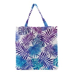 Blue Tropical Leaves Pattern Grocery Tote Bag by goljakoff