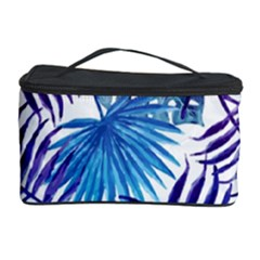 Blue Tropical Leaves Pattern Cosmetic Storage Case by goljakoff