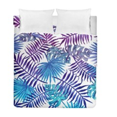 Blue Tropical Leaves Pattern Duvet Cover Double Side (full/ Double Size) by goljakoff