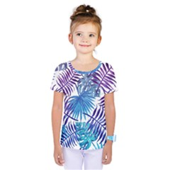 Blue Tropical Leaves Pattern Kids  One Piece Tee