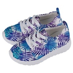Blue Tropical Leaves Pattern Kids  Lightweight Sports Shoes by goljakoff