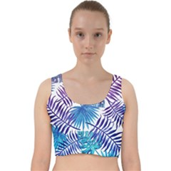 Blue Tropical Leaves Pattern Velvet Racer Back Crop Top by goljakoff