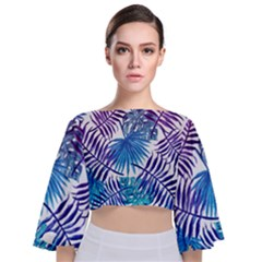 Blue Tropical Leaves Pattern Tie Back Butterfly Sleeve Chiffon Top by goljakoff