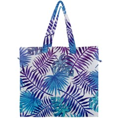 Blue Tropical Leaves Pattern Canvas Travel Bag by goljakoff