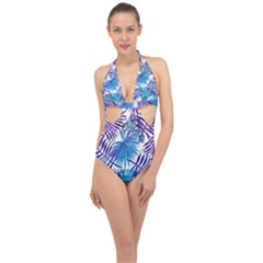 Blue Tropical Leaves Pattern Halter Front Plunge Swimsuit