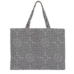 Linear Intricate Geometric Pattern Zipper Large Tote Bag by dflcprints