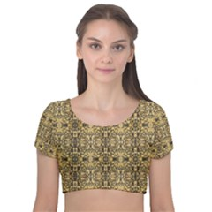 Artwork By Patrick Aztec Velvet Short Sleeve Crop Top