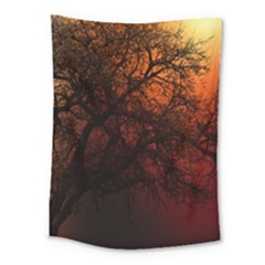 Sunset Silhouette Winter Tree Medium Tapestry