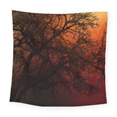 Sunset Silhouette Winter Tree Square Tapestry (large)