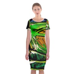 Lillies In The Terracota Vase 5 Classic Short Sleeve Midi Dress
