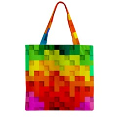 Abstract Background Square Colorful Zipper Grocery Tote Bag