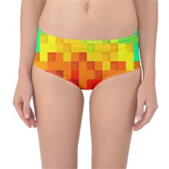 Abstract Background Square Colorful Mid Waist Bikini Bottoms