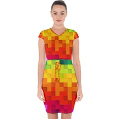 Abstract Background Square Colorful Capsleeve Drawstring Dress