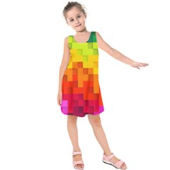 Abstract Background Square Colorful Kids  Sleeveless Dress by Nexatart