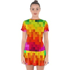 Abstract Background Square Colorful Drop Hem Mini Chiffon Dress