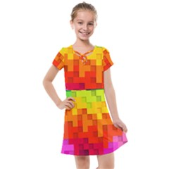 Abstract Background Square Colorful Kids  Cross Web Dress